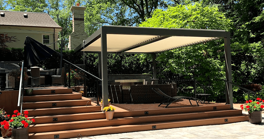 Aluminium Louvered Pergola gives an attractive look to the houses